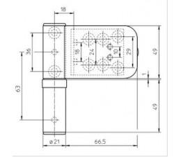 Dverový záves 3D K4145  pre plastové dvere - SIKU