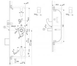 Dverový zámok MACO G-TS  2xháky + 2xis uzávery, ovládaný kľučkou 92/16/ 8