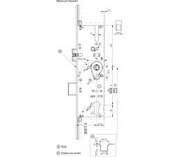 Dverový zámok MACO G-TS ovládaný kľučkou so 4xIS čapmi 92/16/